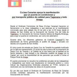 Desde el Sindicato Comisiones de Base de Canarias (co.bas) apoyamos la manifest…