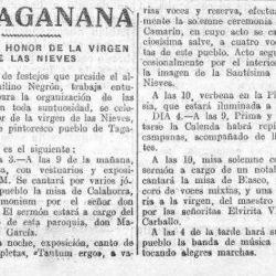 Prensa histórica.   De Taganana.   Fiestas en honor…de la Virgen de las Nieves…