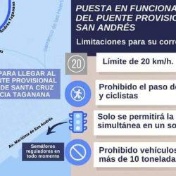 Abierto al tráfico el puente militar provisional de San Andrés .  ·