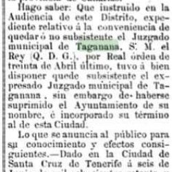Documento de prensa histórica ( juzgados de Taganana). Orden de 30 de abril de 1…