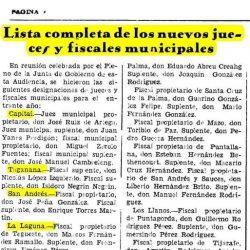 Prensa, la gaceta de Tenerife.  17 de noviembre de 1935.  Lista completa de los …