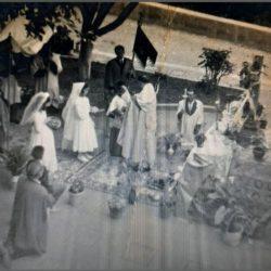 Corpus Cristi, plaza de Taganana, se ve el descanso en la antigua cruz, hermanda…